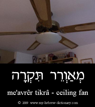 Ceiling fan in Hebrew