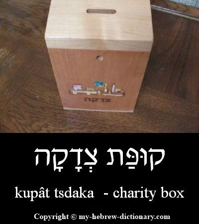 Charity box in Hebrew