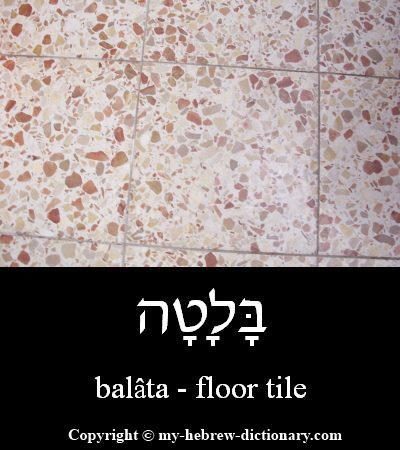 Floor tile in Hebrew