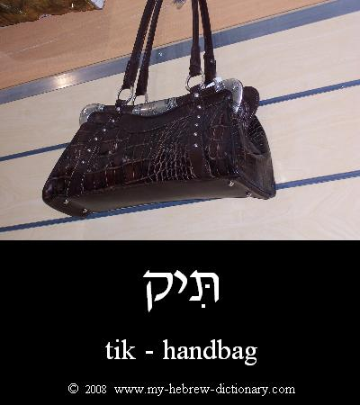 Handbag in Hebrew